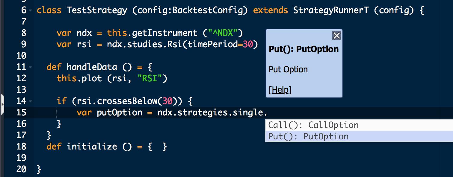 Backtesting options strategies